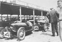 Morgan 3 wheelers Rhodes & Laird in Brooklands pits 1934 Relay Race